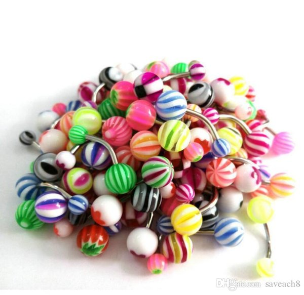 50pcs/set Stainless Steel Belly Button Ring Navel Piercing Bar Body Jewelry Curved Barbell with Acrylic Pattern Ball