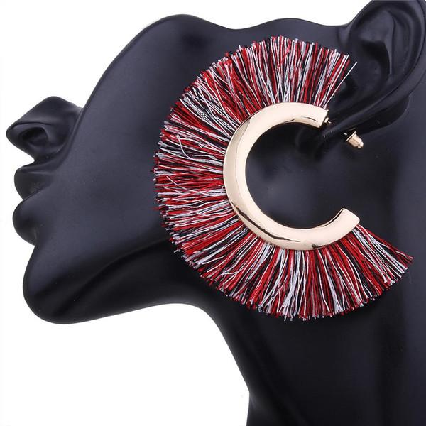 Sıcak Moda Bohemia Kadınlar Fan Şekli Püskül Kulak Çiviler Bildirimi Küpe Parti Takı