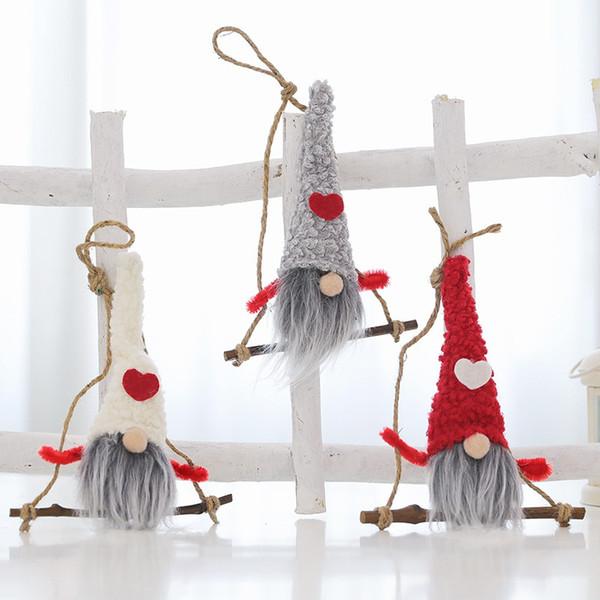 Plush Gnome Doll Christmas Pingente Drop Ornaments Xmas Tree Holiday Decorações