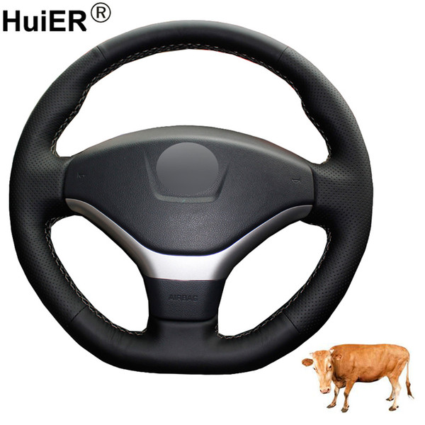 hand sewing car steering wheel cover volant layer cow leather braid on the steering wheel for 308 2012 2013 2014