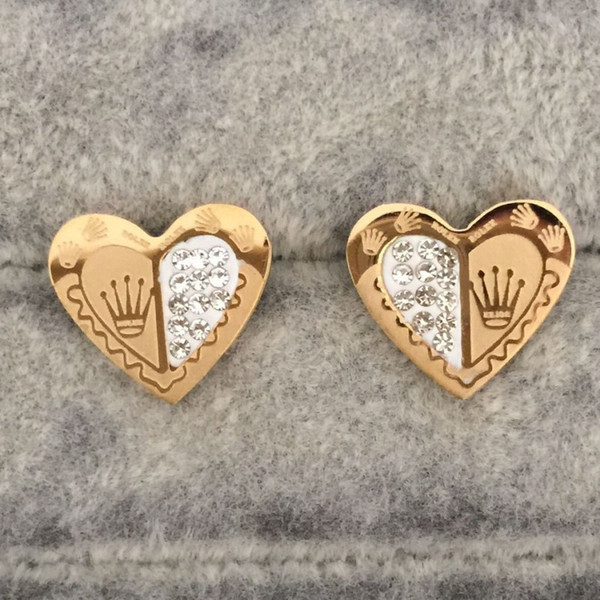 top popular Never Faded Top Quality Gold Color Heart Shape Stud Earrings for Women Fashion Genuine Jewelry Enamel Party Gift Wholesale 2021