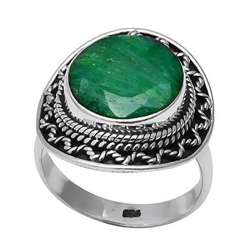 NiaoZaiFei YunZaiKan Genuine Emerald Ring 925 Sterling Silver, USA Formato: 6.5, 2SR0185