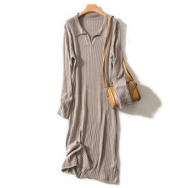 2019 High-End New Cashmere Blend Vestido de suéter largo de las mujeres sueltas de punto de lana Vestidos Moda para mujer Con cuello en V Color sólido Jerseys