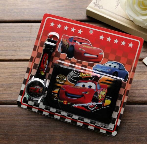 Atacado Lot Car Crianças Crianças Meninos Meninas Assista Bolsa Carteira Set Presente Frete grátis T004