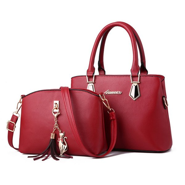 2pcs Femme Sac Set Mode Femme bourse et sac à main 5 couleurs deux pièces Sacs à bandoulière en cuir Tote Sac Messenger Porte-monnaie Flap