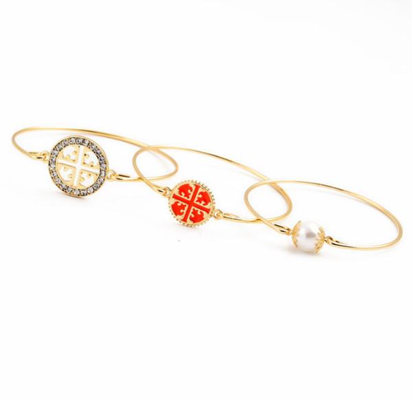 blingbling high quality Diamond shining big brands Set of three Bangle Elegant pearl bracelet temperament with hollow combination bracelet