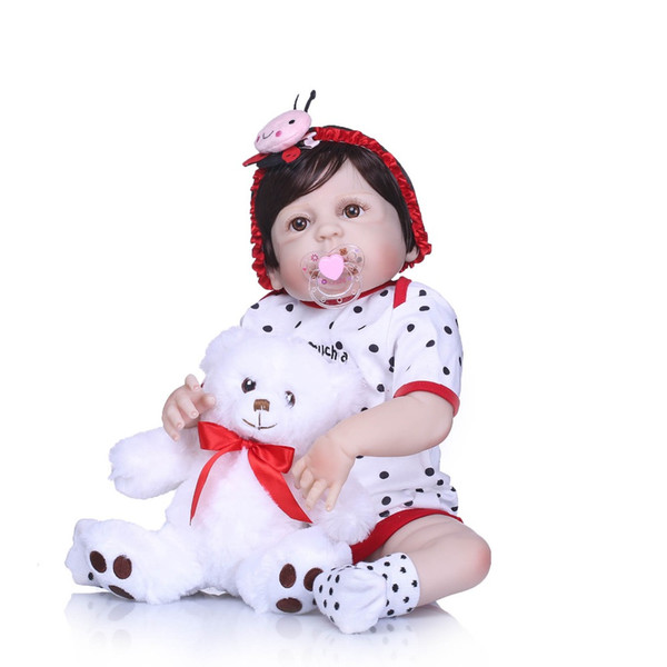 Bebe Reborn Full Silicone Body Reborn Baby Doll Toys LifeLike Real 22inch Newborn Girl Princess Babies Doll Bathe Toy Kid Gift