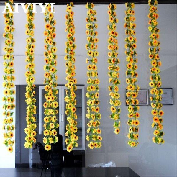 Fleurs artificielles simulation de vigne canne à fleur Canne de tournesol Rotin de tournesol décoration de fleurs à la maison en gros