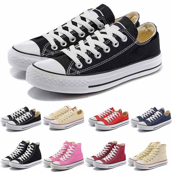 Nova Estrela Tamanho Grande 35-45 Sapatos Casuais Low High Top Estilo de Estrelas de Esportes Chuck Sapatas de Sapato de Lona Clássico dos homens / Sapatas de Lona das Mulheres sapato liso