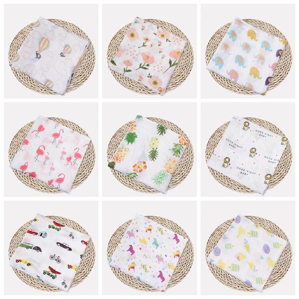 best selling Muslin Baby Blankets Cotton Newborn Swaddling Bath Gauze Infant Wrap Swaddles Kids Sleepsack Stroller Cover Play Mat 72 Designs DHW1387