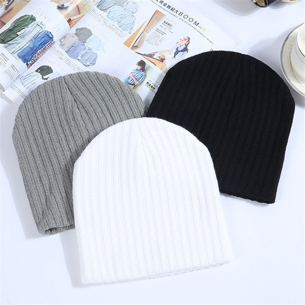 Winter Hats For Women Beanie Cap Solid Warm Hats Knitted Skullies Beanies Man Thick Warm Caps Black Gray White Colors S18120302