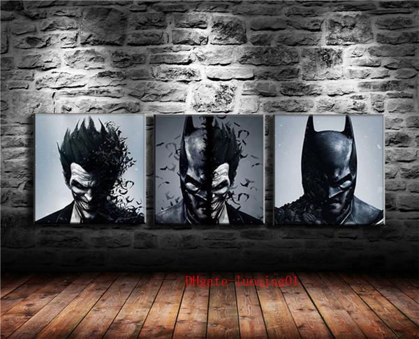 DC Joker Batman-3, Pièces de toile 3P Décor à la maison HD Imprimé Art moderne Peinture sur toile (sans cadre / encadré)