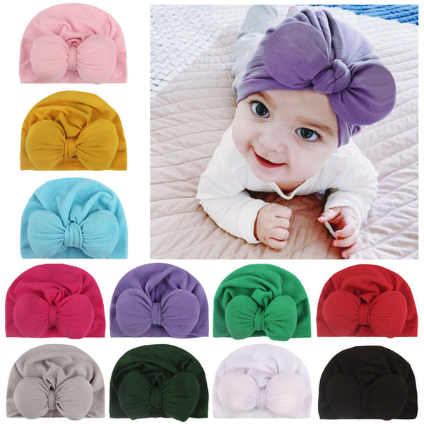 Free DHL 5 Styles Newborn Baby Headband Hat Cute Bow Headwraps Hair Band Girls Hair Accessories Soft Turban Bowknot Hospital Cap 2020 M843F