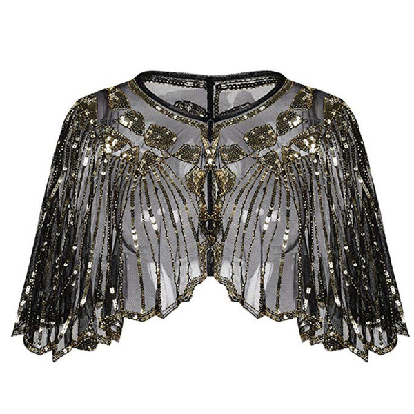 Womens Shirt 1920s Shawl Beaded Sequin Deco Evening Retro style stage protagonist costume