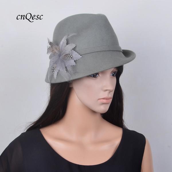 Exclusive design Dark gray 100% Wool felt hat warm winter hat Royal wedding fedora with feather flower