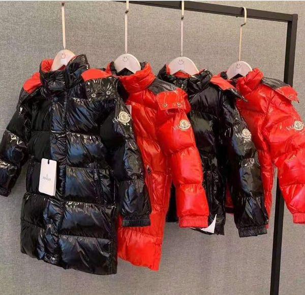 Top expédition qualité hiver M marque garçons filles blanc duvet de parkas 90% duvet chaud ultra léger longueur de l'enfant duvet manteau