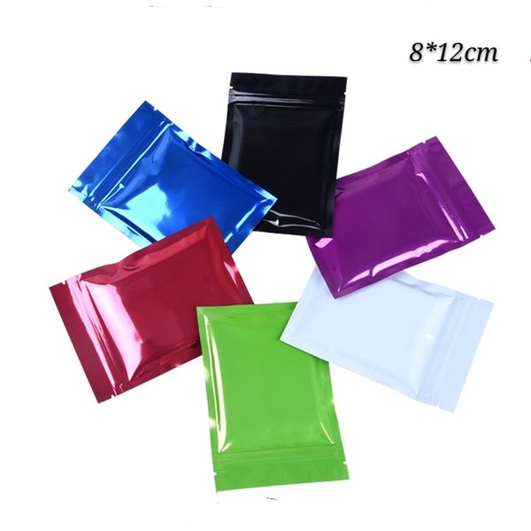 200pcs 8*12cm flat colorful resealable zip lock package pouches glossy aluminum foil mylar zipper seal packing bags for candy coffee grocery