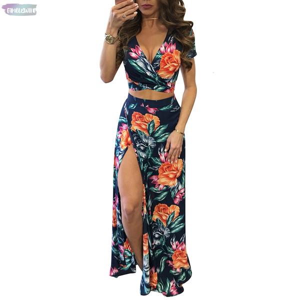 Women 2 Summer Long Maxi Dresses Two Piece Set 2019 Hollow Out Crop Top Skirts Floral Print Elegant Piece Suits