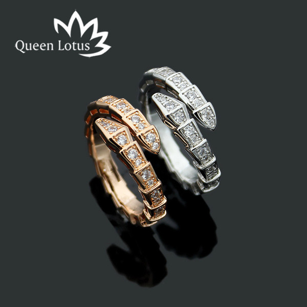 2019 Queen Lotus New Golde Color Letter Narrow Snake Open Ring Fashion Women Trendy Jewelry Rings For Party Gift