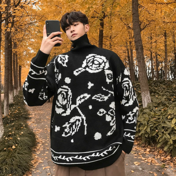 2018 Winter Men's In Warm Sweaters Brand Woolen Pullover Casual Knitting Cashmere Turtleneck Flower Printing Black Coats M-2XL