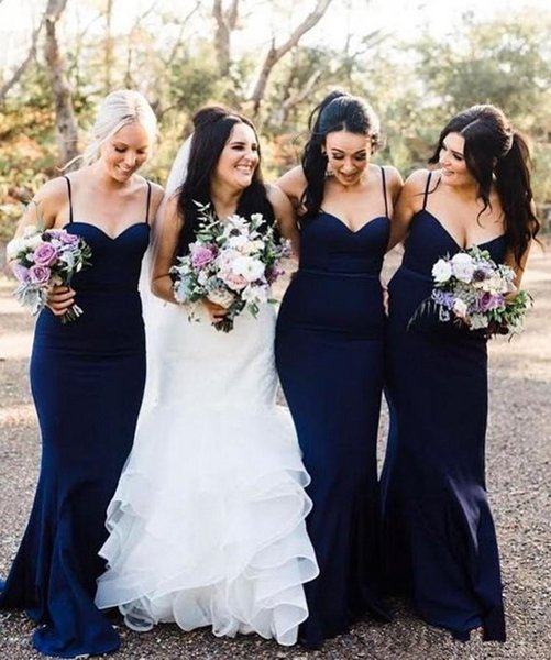 Navy Blue Mermaid Bridesmaid Dresses 2019 Sexy Sweetheart Spaghetti Straps Satin Long African Wedding Guest Dresses Bridesmaid Gowns