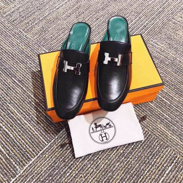 duping520 205909 real leather black thick with slippers Women Running Ballerina Flats SNEAKERS Shoes Loafers Espadrilles Wedges Dress