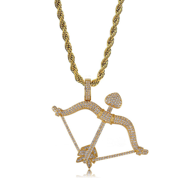 Topfashionqueen Factory Price Man Pendant Necklace Hip Hop Gold Silver Pendant Jewelry Bow & Arrow CZ Iced Out Pendant Steel Rope Chain