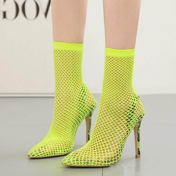 Plus size 35 to 40 41 42 fluor colorful yellow green mesh stiletto sandals Women Designer Shoes