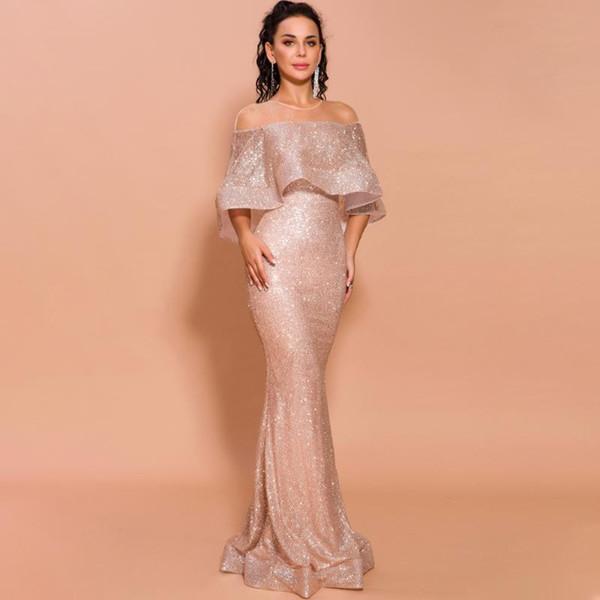Gloden de encaje con lentejuelas de la belleza atractiva vestidos de noche largo 2020 del cuello del barco del partido formales de baile reflectantes vestidos 2019 de la vendimia
