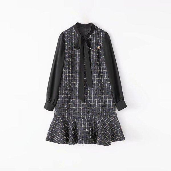 2019 Spring Long Sleeve Crew Neck Plaid Print With Ribbon Tie-Bow Lady Above Knee Dress Luxury Runway Dresses N135576