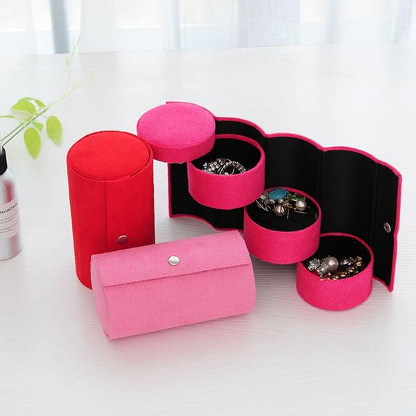 Cilindro en forma de joyas caja de almacenamiento de maquillaje Organizador regalo de las mujeres portátiles 3 capas Gargantilla de la caja del anillo de exhibición del collar ataúdes TTA1839