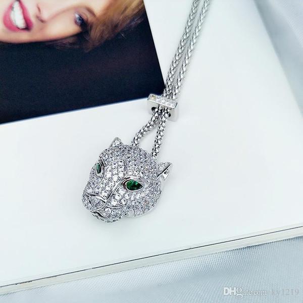 Designer Collier pendentif Leopard Bling Zircon Bijoux en argent 2019 Nouveau mode charme animaux Colliers pour les femmes