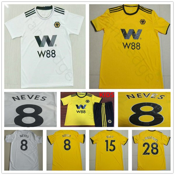 a7aab15b4 2019 Wolverhampton Wanderers Soccer Jerseys 7 CAVALEIRO 8 NEVES 15 BOLY Customize  18 19 Home Yellow White Adult Kids Football Shirts