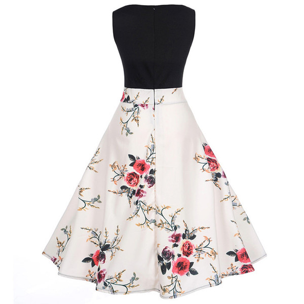 Women Vintage Floral Bodycon Print Sleeveless Casual Evening Party Dress dropship #Zero