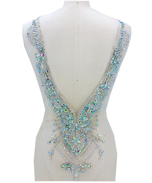 hand made clear AB colour sew on Rhinestones applique on mesh crystals patches 59*30cm DIY dress accessory