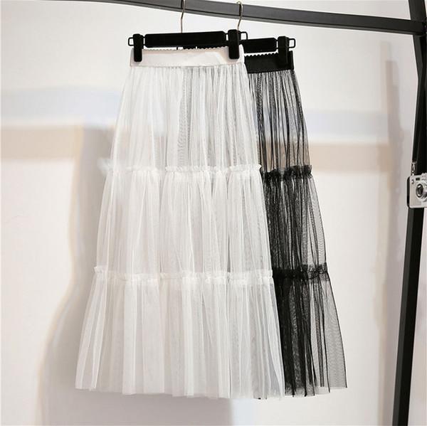 Весна женщины сетки кружева длинная юбка лето повседневная элегантный прозрачный эластичный высокой талией лоскутное все Матч юбка-Майка D137 Y1904002