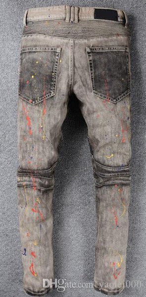 Europe and the USA high street fashion motorcycle pants do the old gray paint stitching Slim micro-embossed jeans