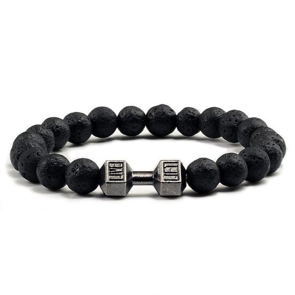 Natural Black Volcanic Lava Stone Dumbbell Bracelet black Matte Beads Bracelets For Women Men Fitness Barbell Jewelry Pulseras