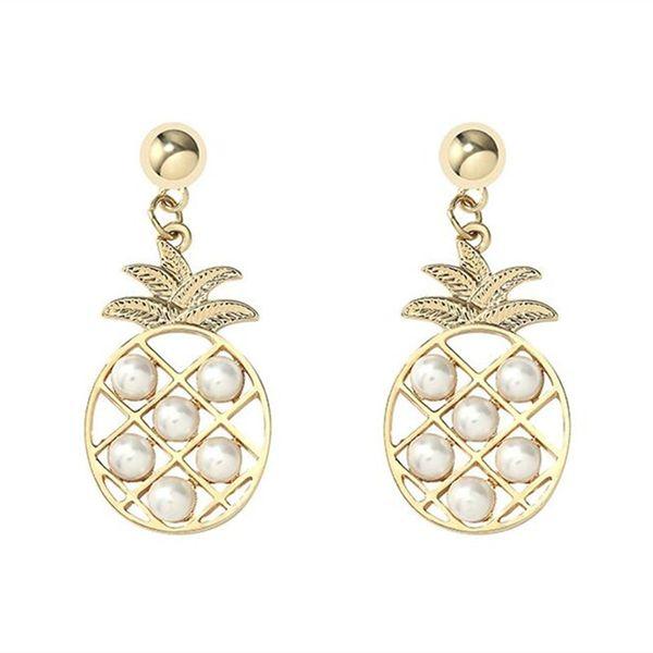 Personality S925 women pineapple metal earrings silver pearl ear stud girls fashion all-match eardrop Jewelry accessories