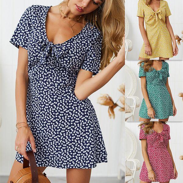 Las mujeres de primavera y verano nuevo vestido casual moda vestido estampado con cuello en v manga corta sexy mini vestido