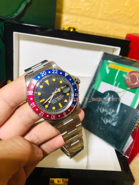 With Original Box Men's Luxury Factory Vintage 1974 Red and Blue Pepsi Bezel Mens Watch 1675 40mm Automatic Cal.2813 Mechanical men watches