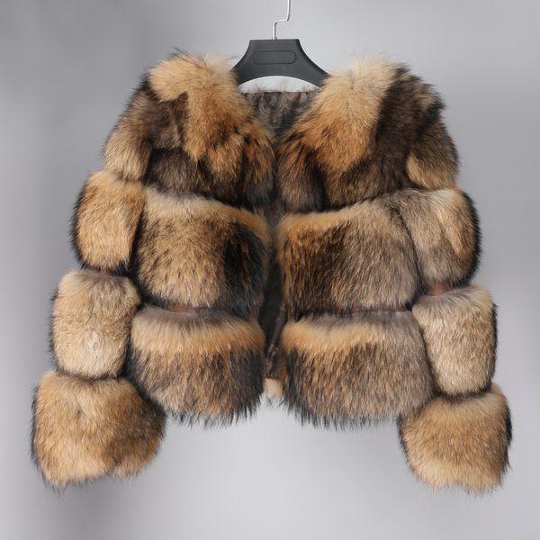 Maomaokong зима новый стиль куртка женская толстая шуба из натурального меха енота куртка высокого качества енота шею теплый