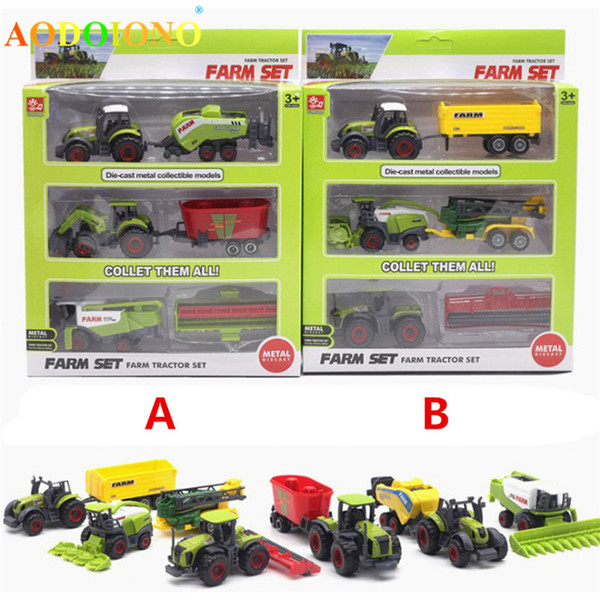 Diecast Farmer Toy Vehicles Die-cast Metal Collectible Models Car Farm Tractors Planters Trailers Play Set Kids Child Xmas Gifts