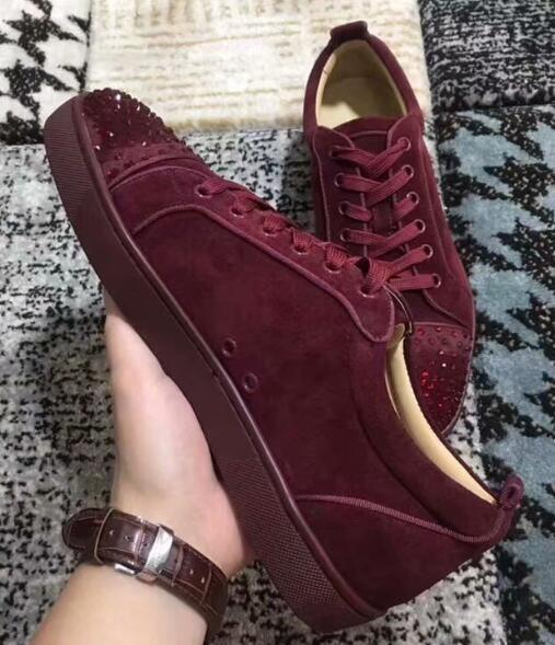 Designer 2019 Mens Red Bottoms Shoes Studded Spikes Low Flats Casual Sneakers For Men Wedding Party Dress Leather