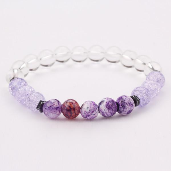 2019 USA Fashion Jewelry Womens Light Purple Stone 8MM Natural Beads Bracelet for Sale 5PCS/Set