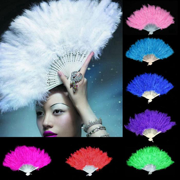 top popular Elegant Folding Feather Fan Halloween Party Stage Performances Craft Fans Christmas Halloween Party Supplies 8styles RRA1730 2021