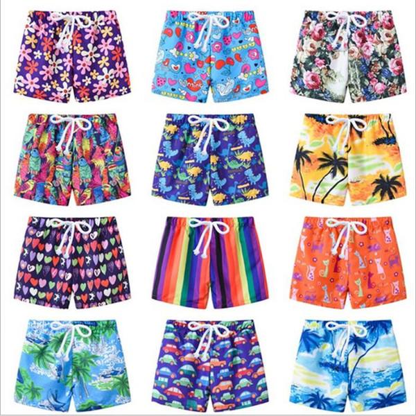 best selling Kids Swimwear 2019 Board Shorts Boys Summer Swim Trunks Child Cartoon Beach Pants Girls Floral Print Shorts Baby Fashion Casual Shorts B4163