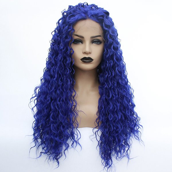 Free Shipping Realistic Looking Loose Curly Blue Wigs Heat Resistant Fiber Synthetic Lace Front Water Wavy Wig for Black Women Cosplay
