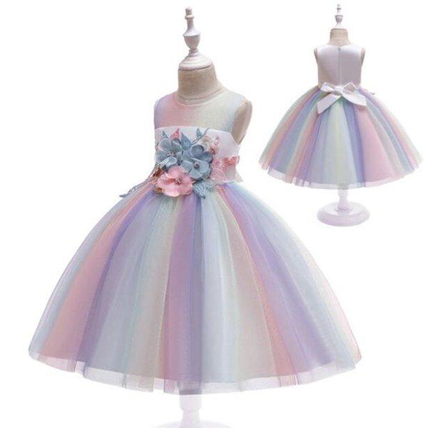 Новые модные платья для девочек платья Кружевные цветы радуги Baby Girl Свадебное платье партии Платья Vestidos детей Одежда