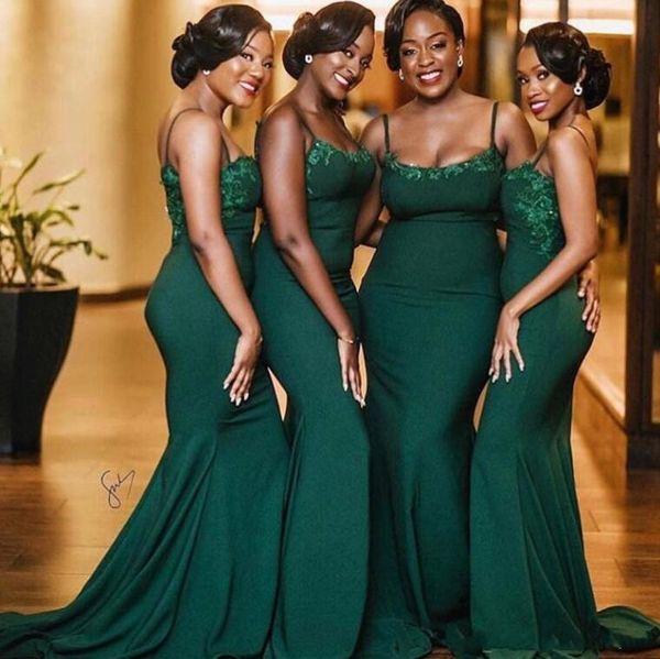 Vestido de dama de honor de sirena sirena verde oscuro negro negro sirena correas espaguetis Largo de encaje satinado Top Maid of Honor boda vestido de fiesta de invitados